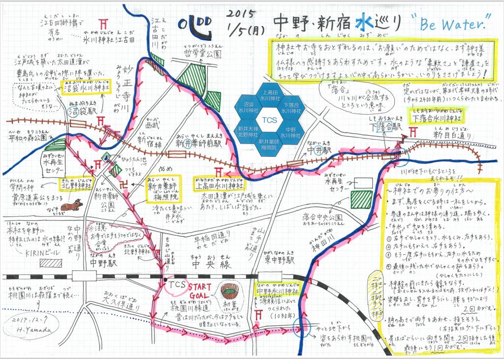 中野新宿水巡り手書き地図